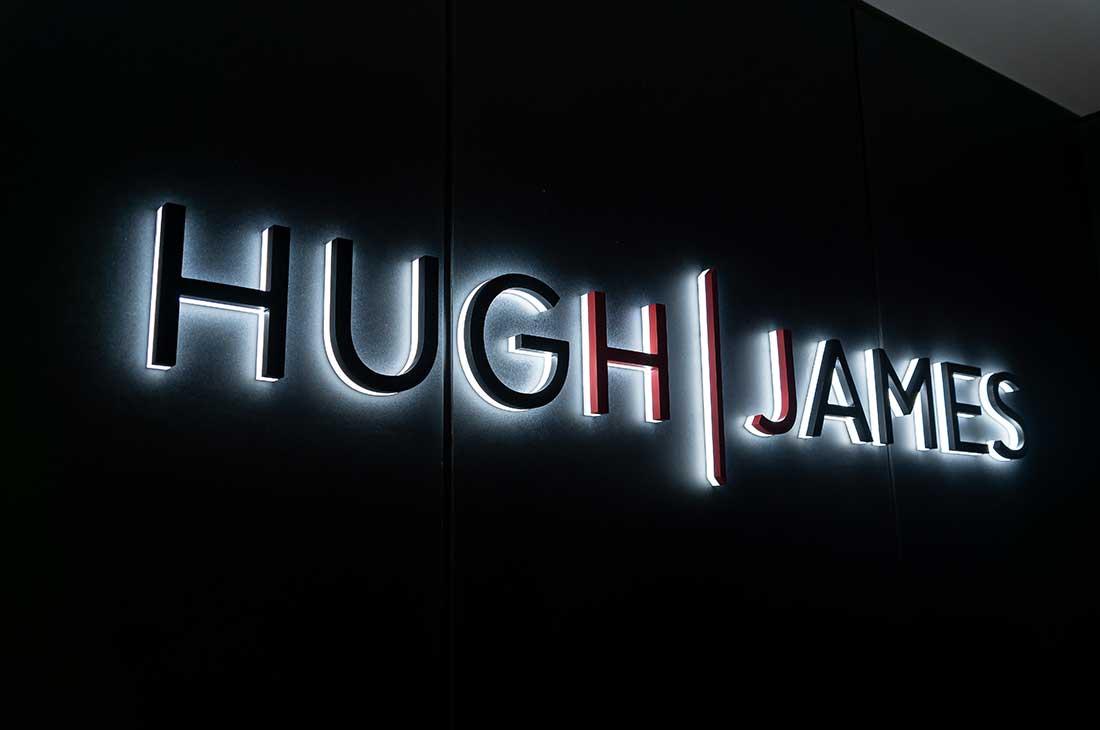 Huw James Solicitors illuminated logo sign Cardiff
