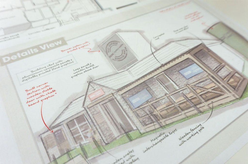 BBC Royal Welsh Show building branding concept sketch