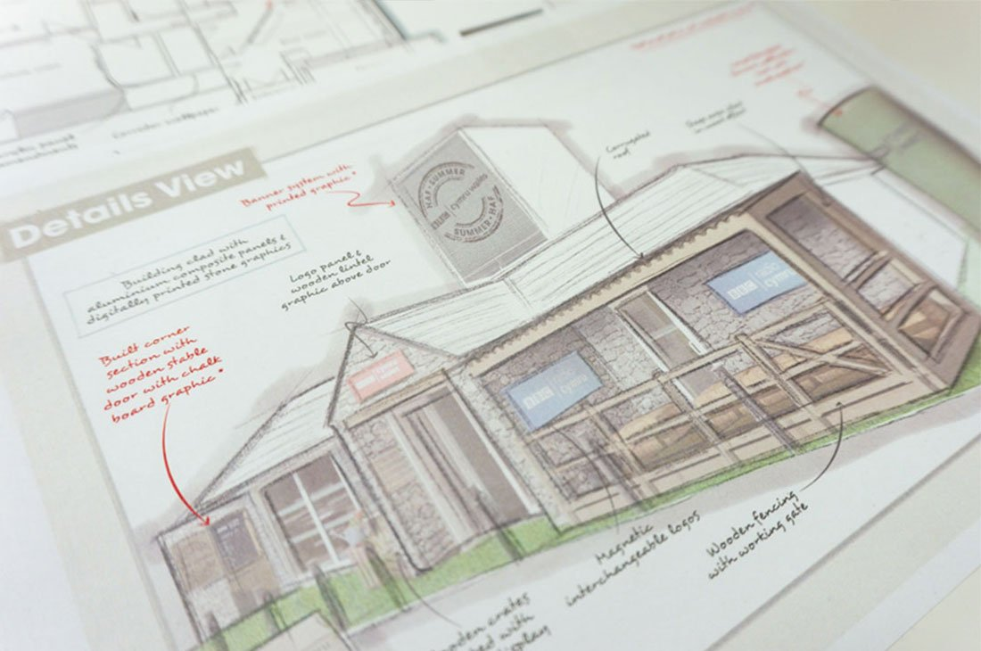 BBC Royal Welsh Show building branding concept sketch