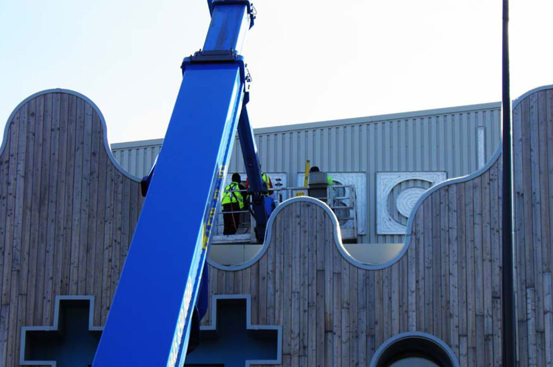 BBC Studio Roath Lock Cardiff external building sign branding installation