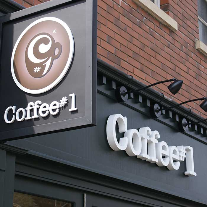 Coffee 1 external store signage Cardiff