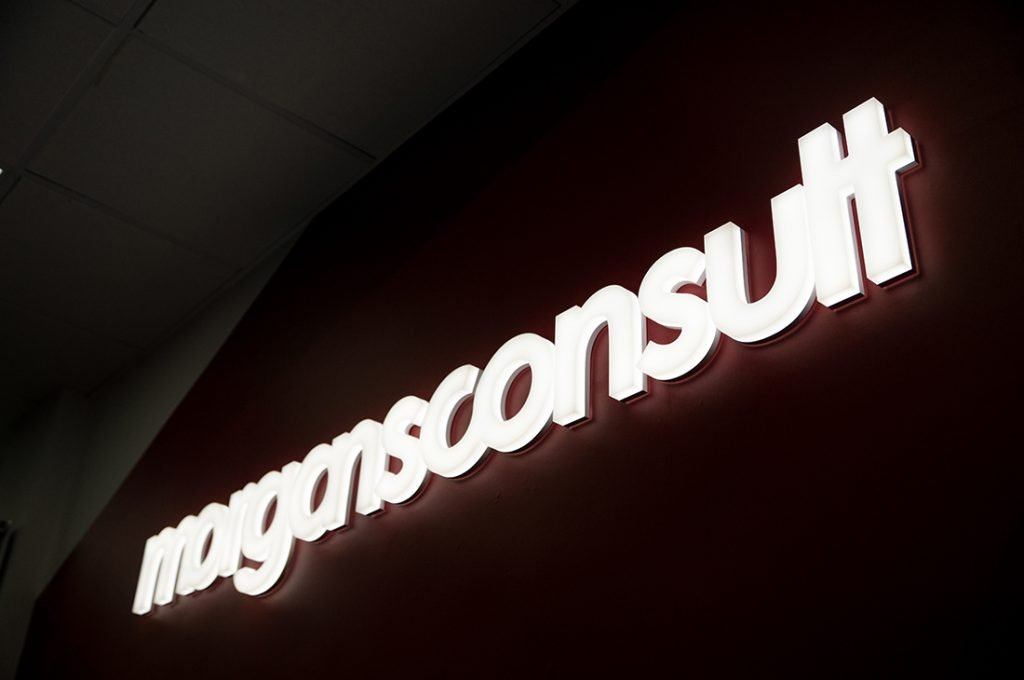 Morgans Consult logo LED sign