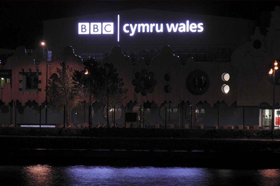 BBC Cymru Wales studio night illuminated branding