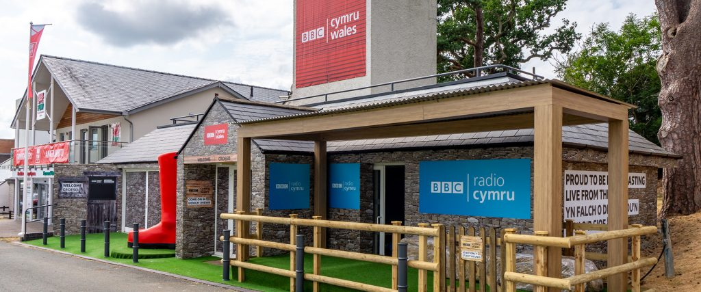 BBC Royal Welsh Show building branding graphics, stage & welly