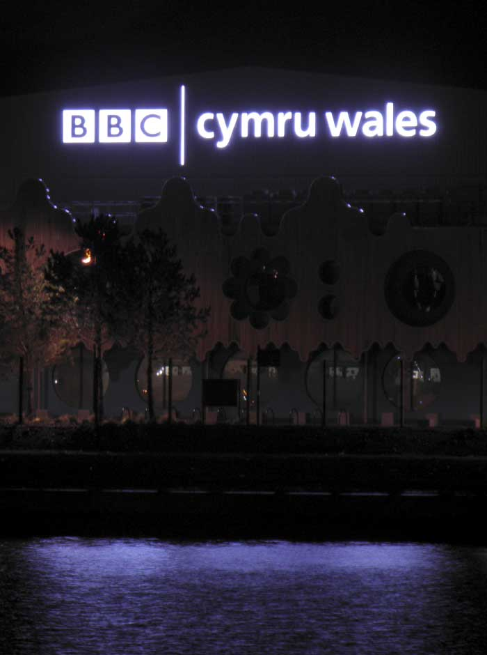 BBC Cymru Wales Roath Lock studio illuminated signage