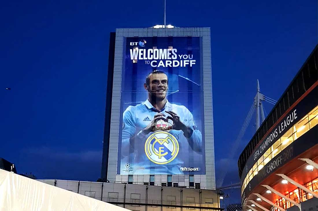 Champions League BT building Cardiff banner projection featuring Gareth Bale