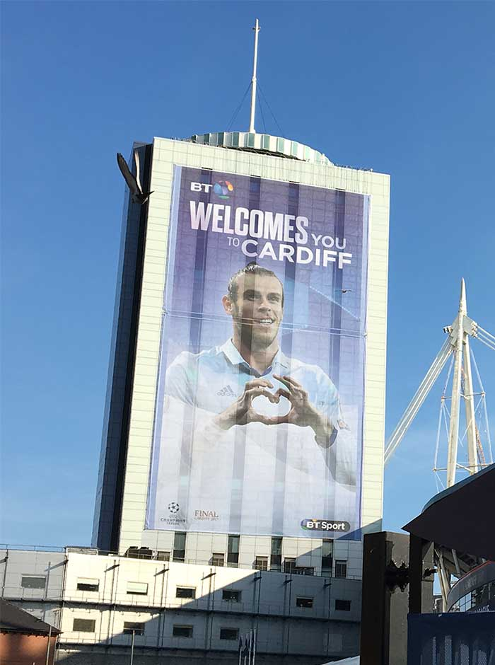 Champions League final Cardiff BT building banner featuring Gareth Bale