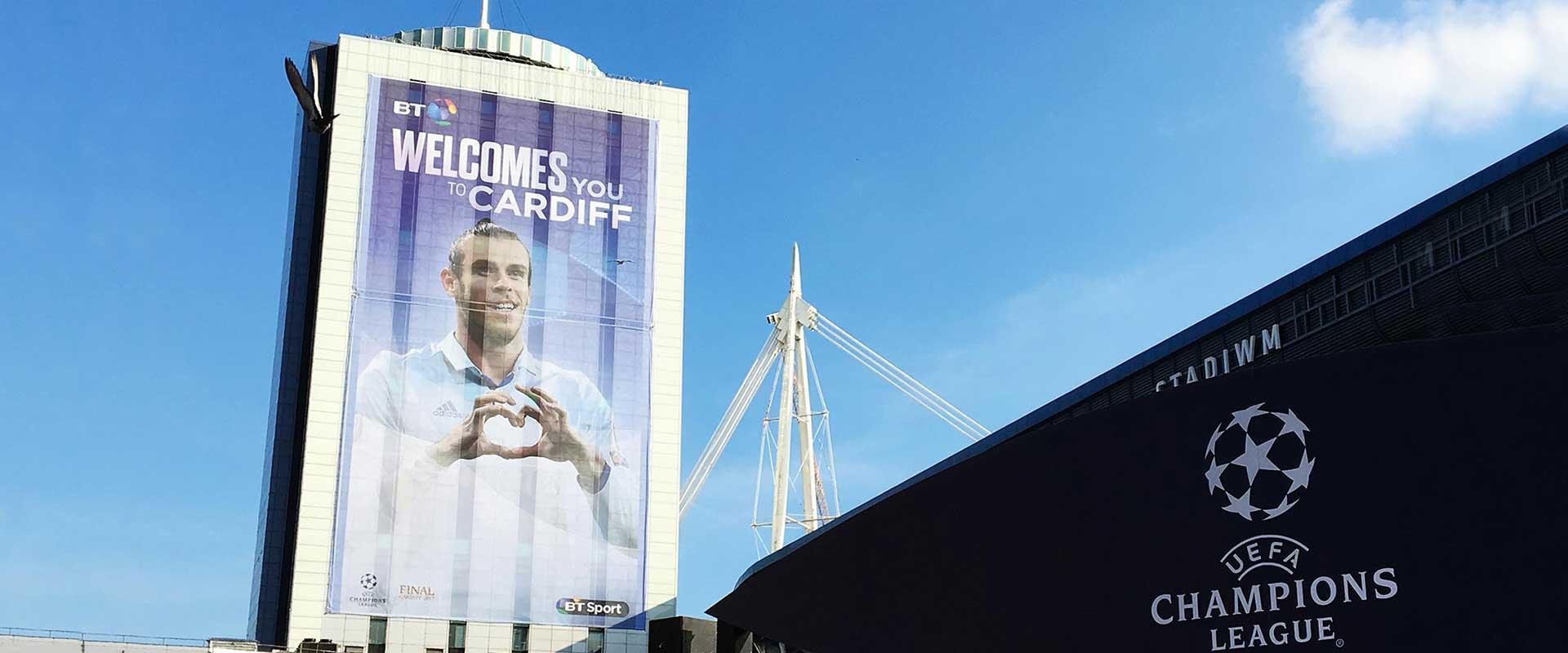 Champions League final Cardiff BT building banner featuring Gareth Bale