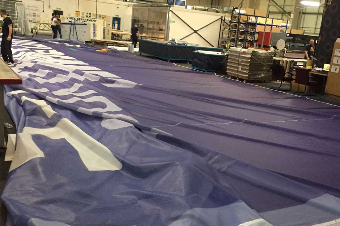 Champions League BT building banner workshop production