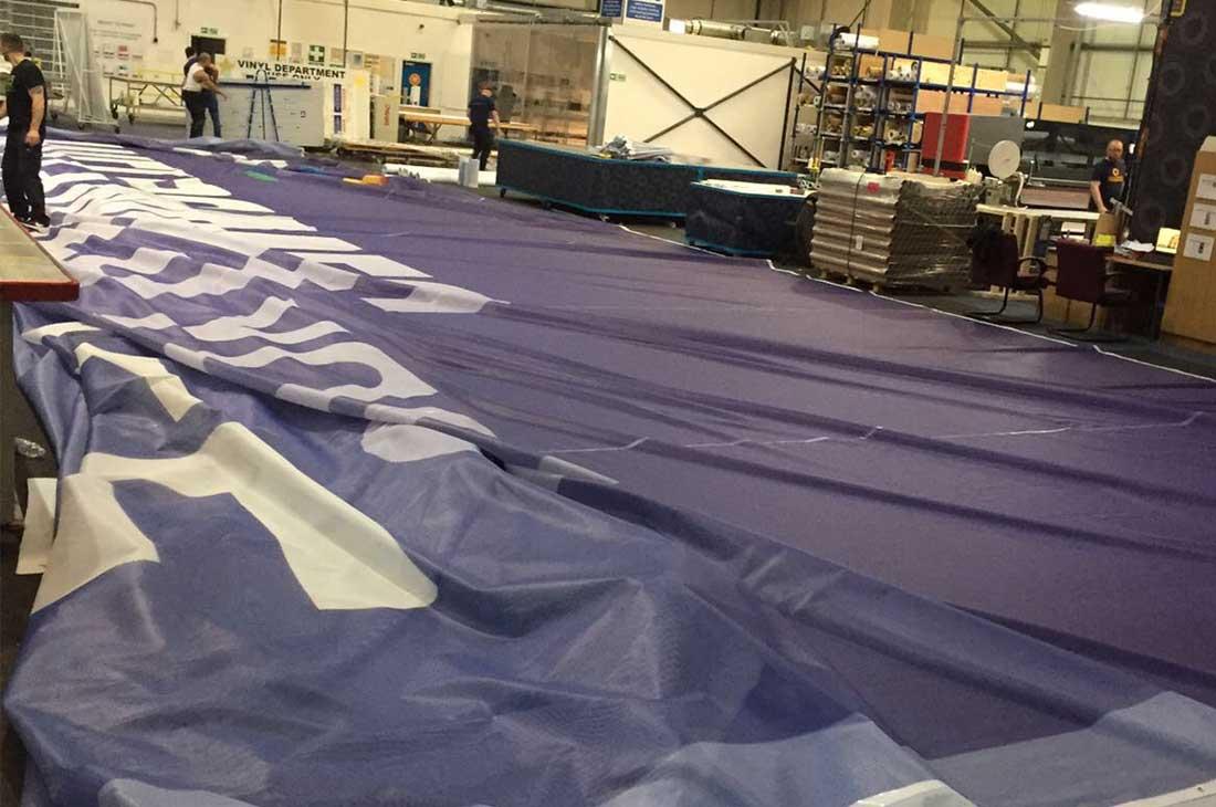 Champions League BT building Cardiff banner workshop production