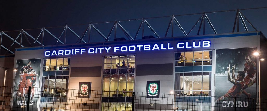 Cardiff City Football Stadium illuminated signage