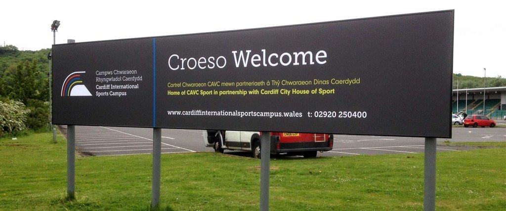 Cardiff International Sports Campus welcome sign