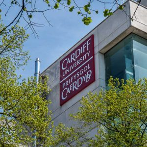 Cardiff University external building logo branding