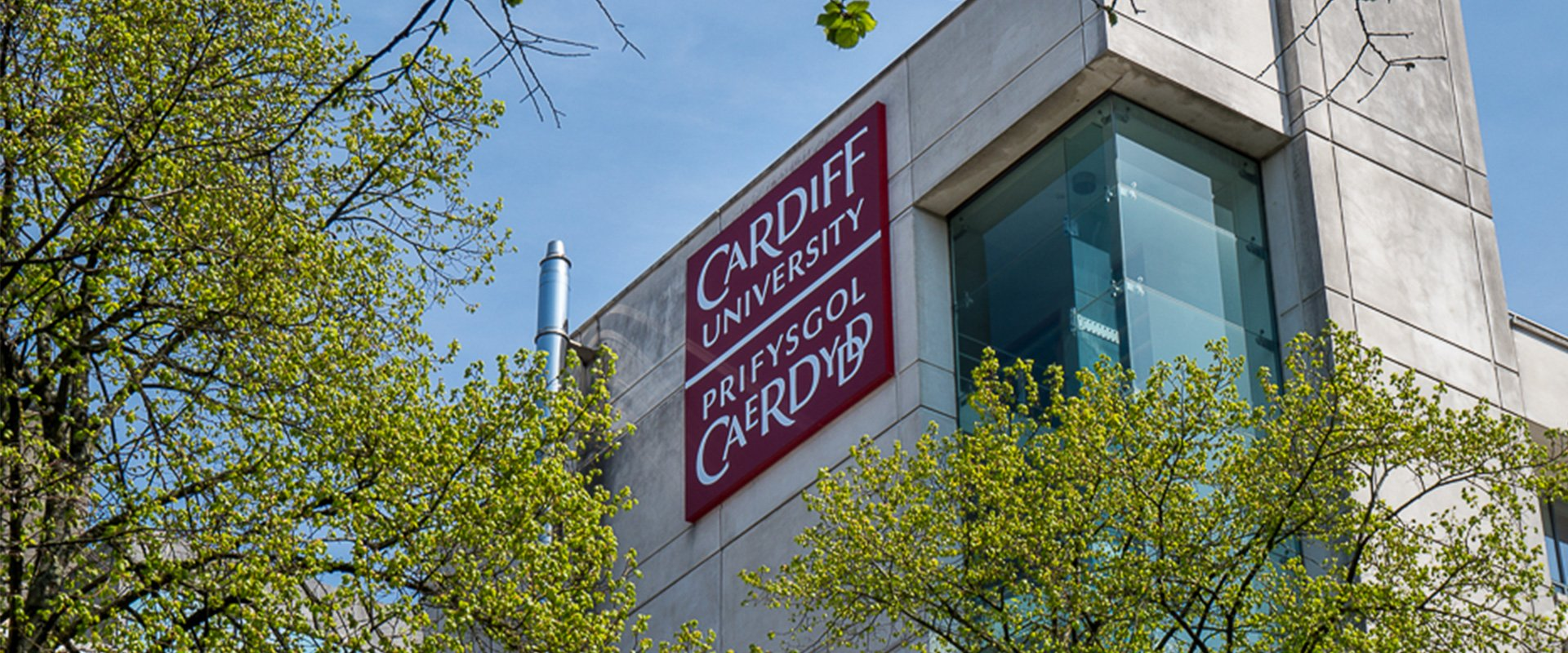 Cardiff University building logo branding
