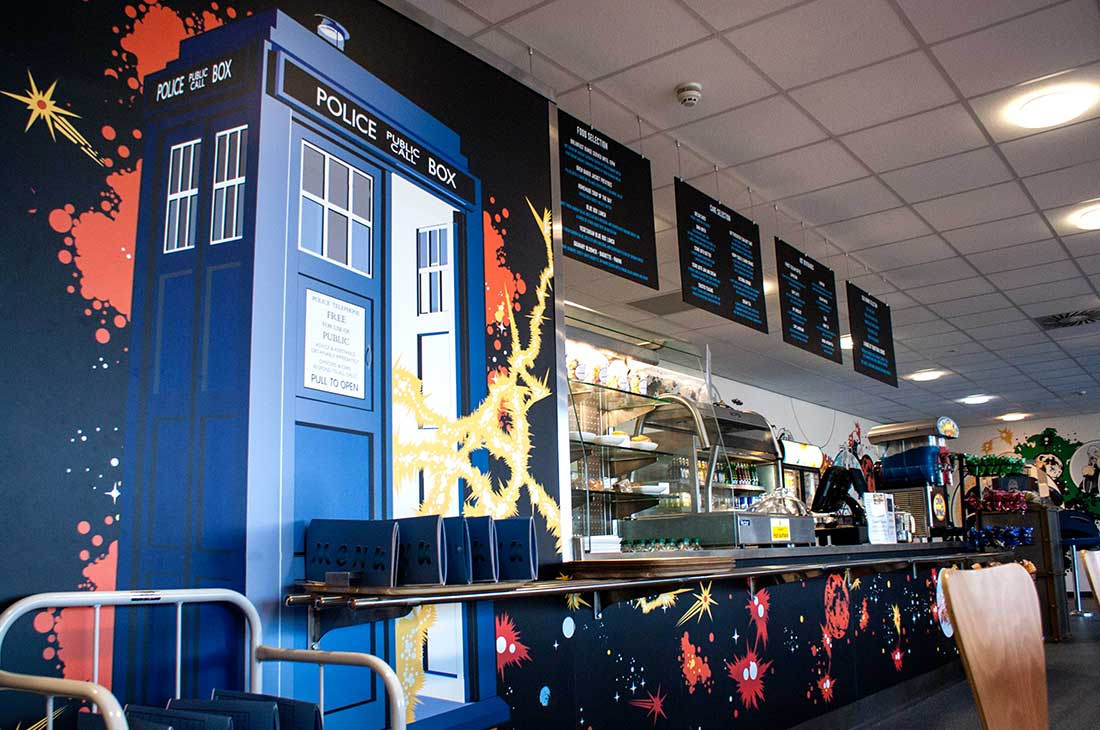 Dr Who experience Cardiff cafe wall graphics
