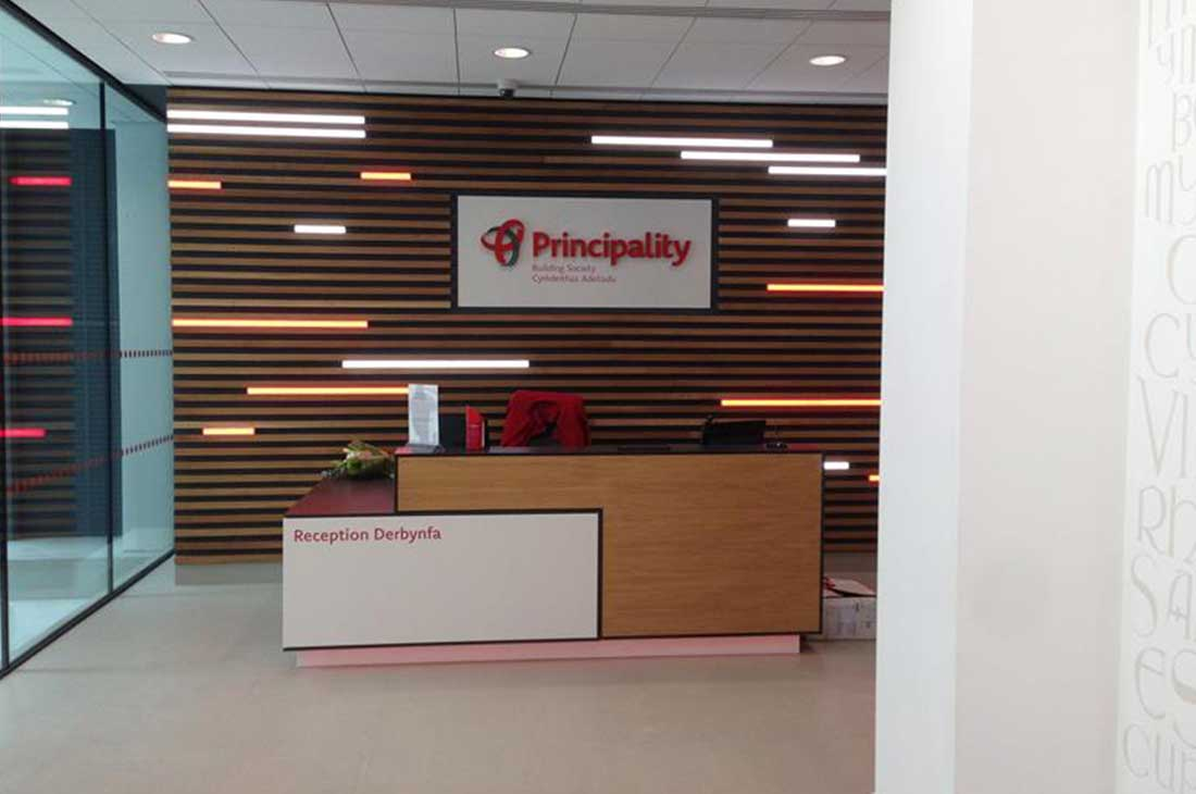 Principality Building Society reception signage