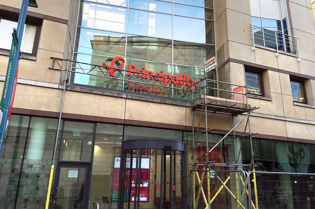 Principality Building Society sign fitting
