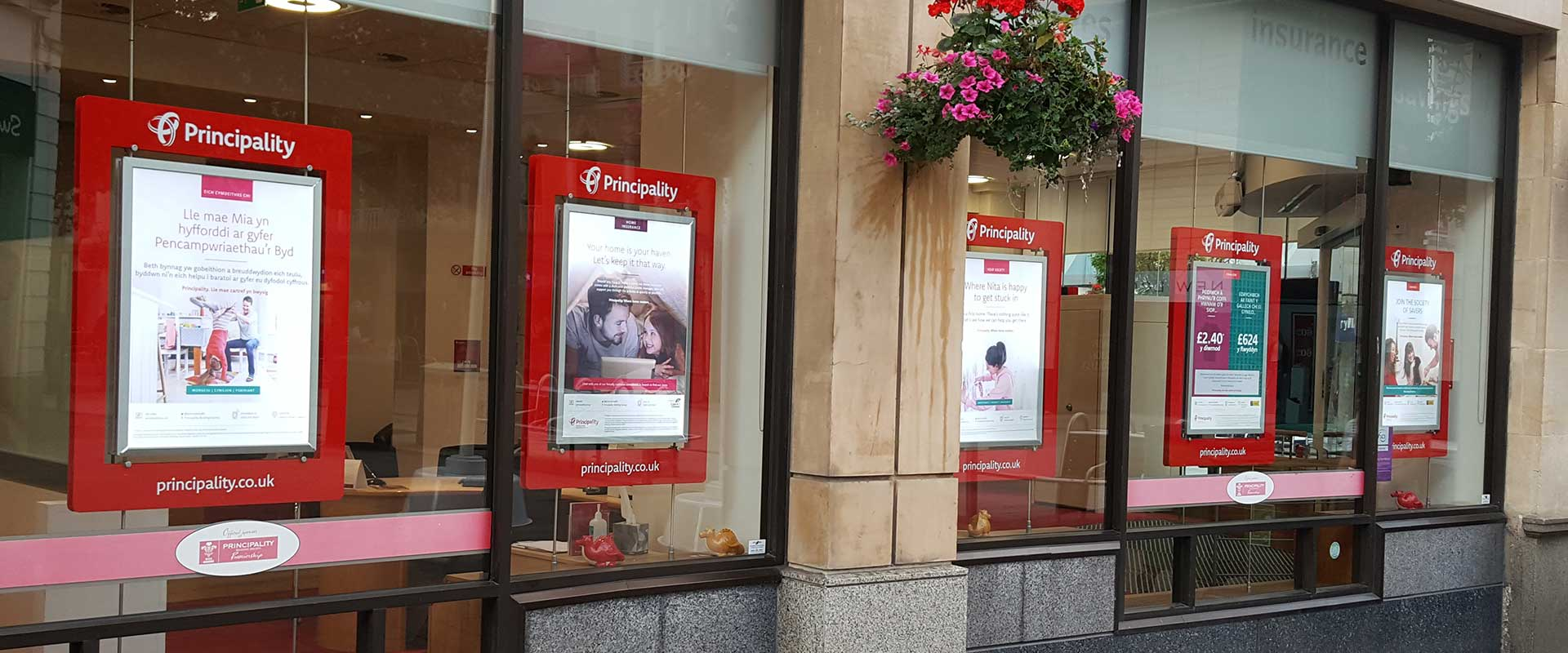 Principality Building Society window displays