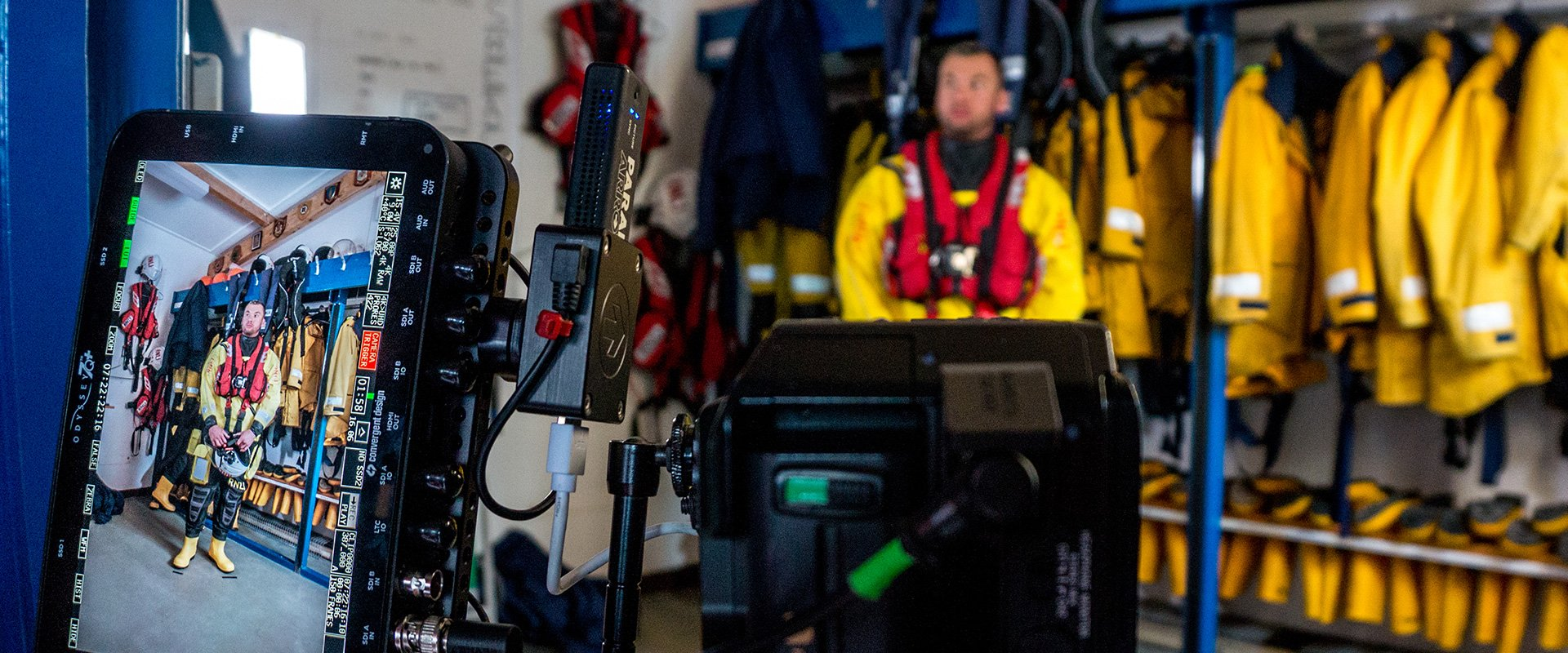 RNLI Barry Island Visitor Centre filming crew for interactive digital screen game