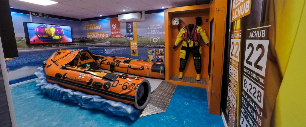 RNLI Barry Island Visitor Centre boat wall graphics and interactive displays
