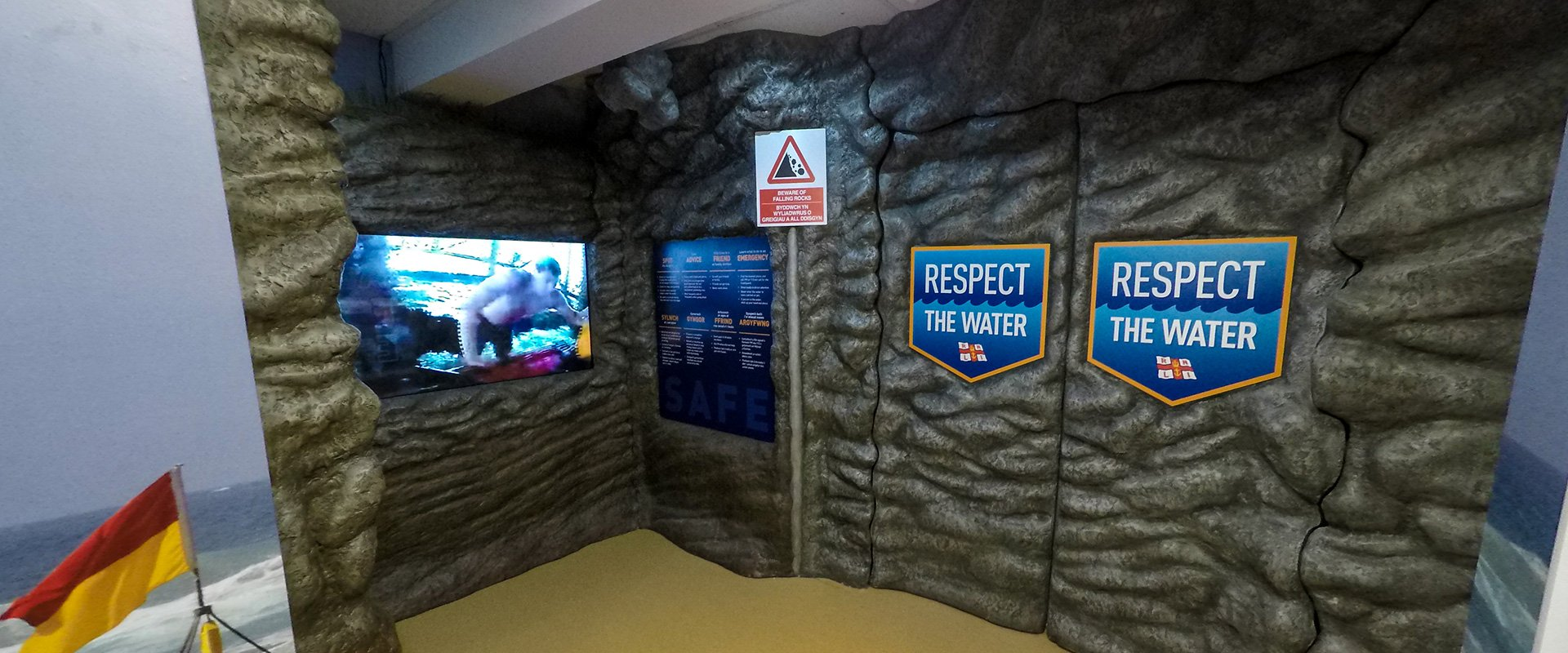 RNLI Barry Island Visitor Centre interactive rock cove with digital screen game