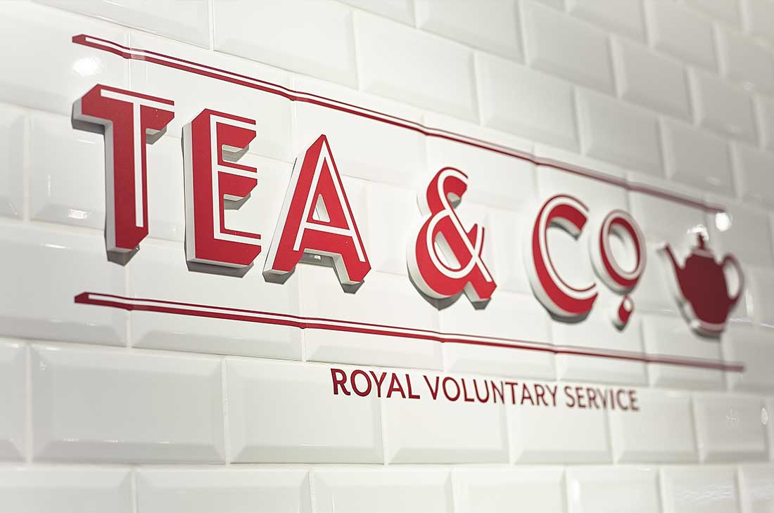 Royal Voluntary Service tea & co wall branding signage