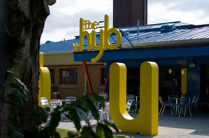 The Hub external signage letters Cardiff