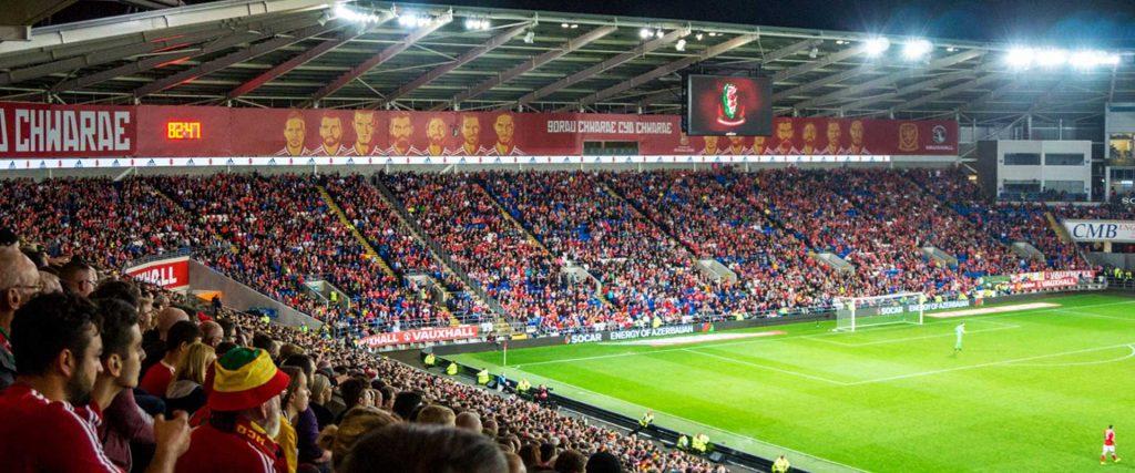 Football Association Wales Cardiff stadium advertising signage banners