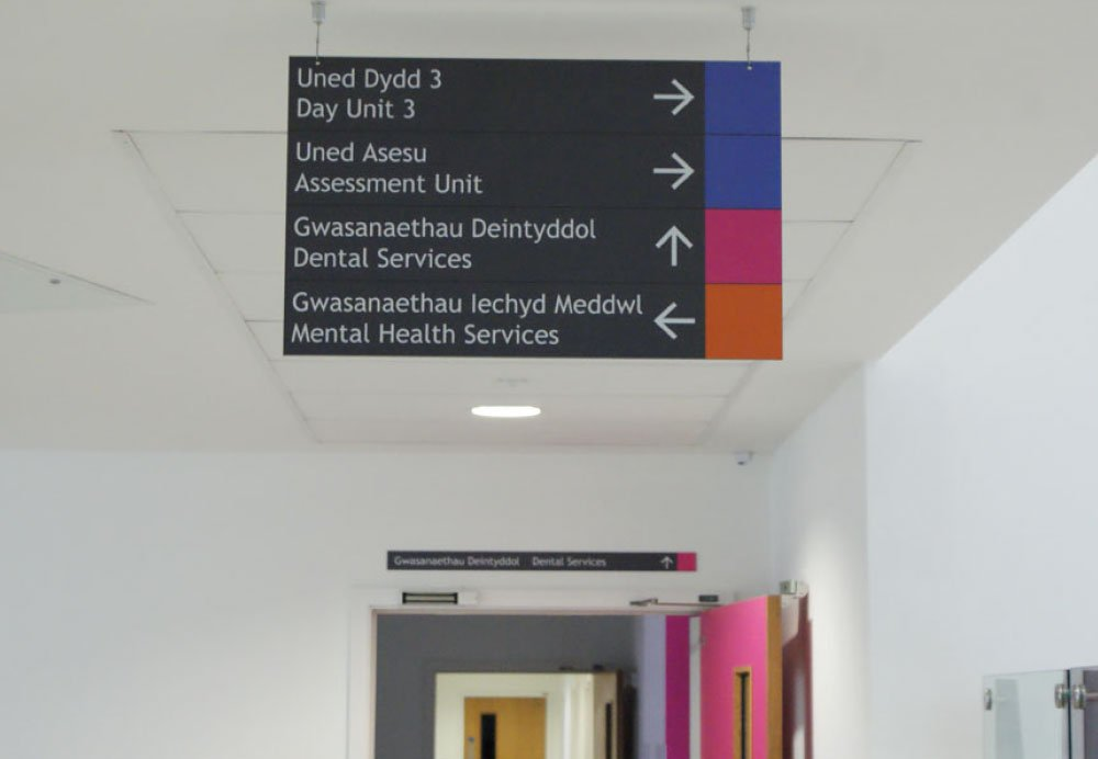 wayfinding hanging sign