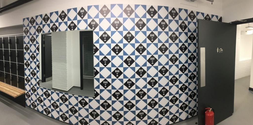 Hodge House blue wallpaper