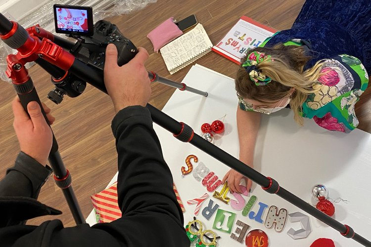 Stop motion Christmas video filming