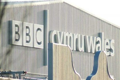 BBC Cymru Wales studio branding sign Cardiff