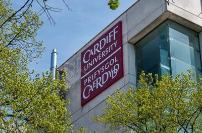 Cardiff University building logo branding sign